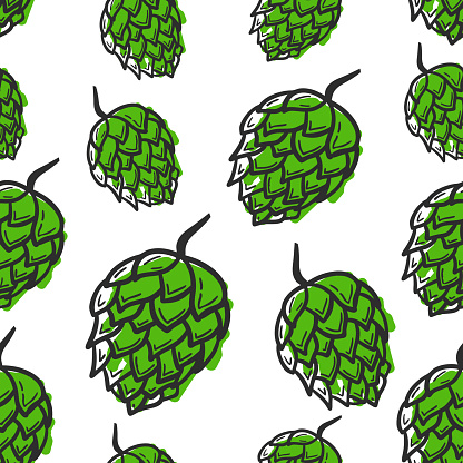 Seamless pattern with hand drawing hop on white background.