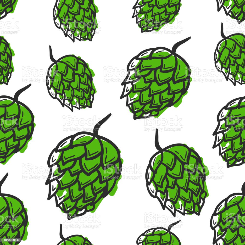 Seamless pattern with hand drawing hop on white background. vector art illustration