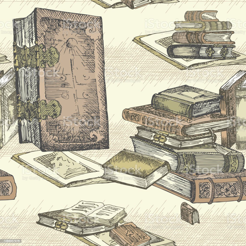 Seamless pattern with hand drawing sketch vintage books for concept design fair or festival flyer