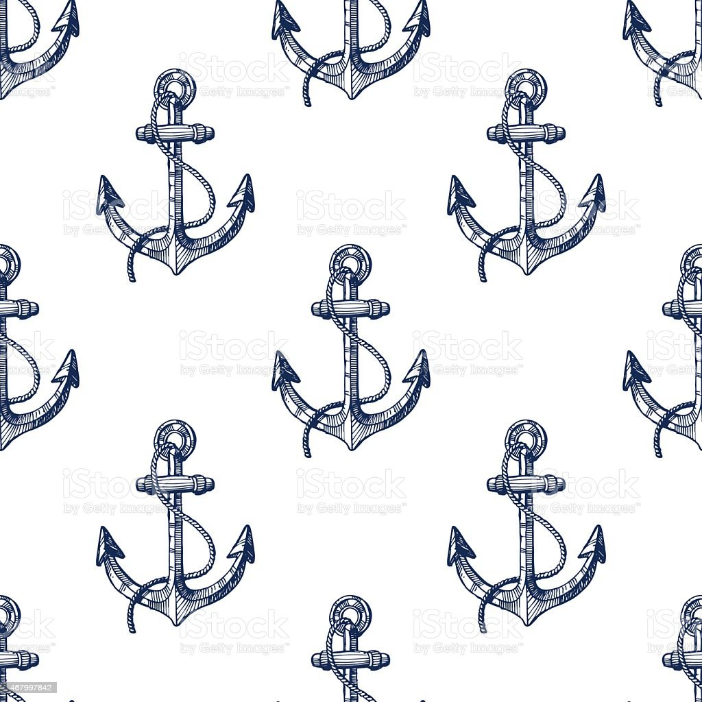 Seamless pattern with hand drawn anchors vector art illustration