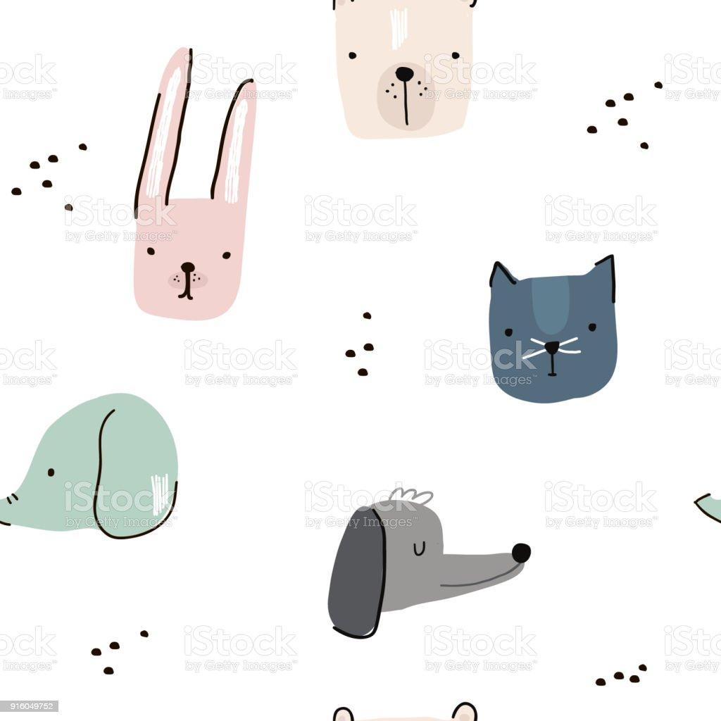 Nahtloses Muster Mit Hand Gezeichnet Tiergesichtern Kreative Kindisch Hintergrund Perfekt Fur Kinder Bekleidung