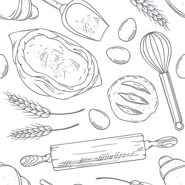 シームレスパターンに手描きのベーカリー oblects ます。スケッチ風のお料理 - 食パン点のイラスト素材/クリップアート素材/マンガ素材/アイコン素材