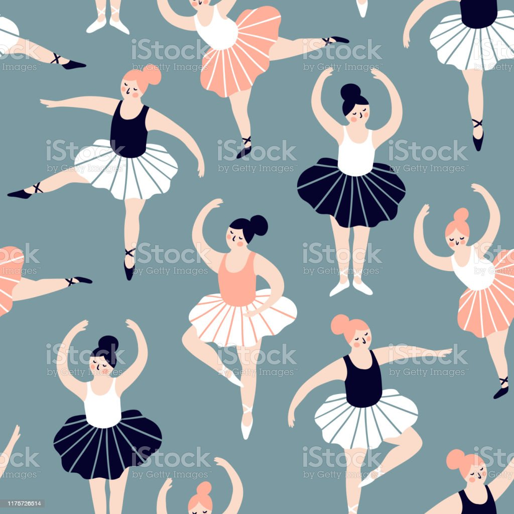 Seamless Pattern With Hand Drawn Ballerinas Cute Dancing Girls Isolated On Blue Background Vector Fashion Repeated Background For Wallpaper Wrap Paper Or Fabric Stock Illustration Download Image Now Istock