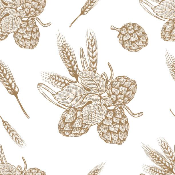 Seamless pattern with hand drawn beer hop. Design element for poster, card, banner, flyer. vector art illustration