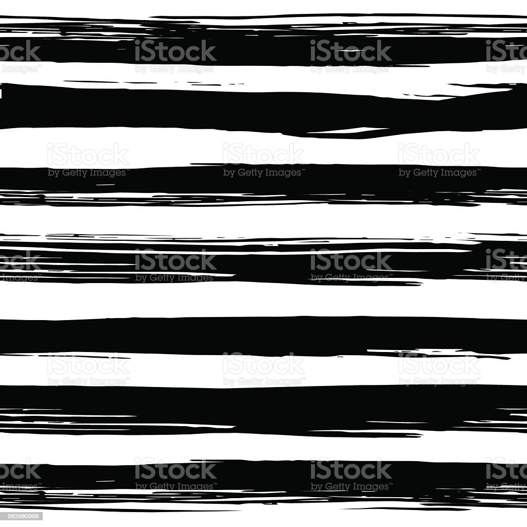 Seamless pattern with hand drawn black and white stripes vector art illustration