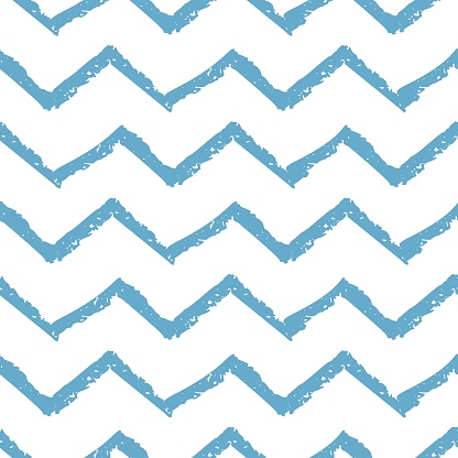 Seamless pattern with hand drawn blue wave markers stripes isolated on white background. Minimalistic design. Vector illustration.