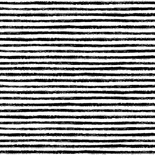 Seamless pattern with hand drawn brush stripes vector art illustration