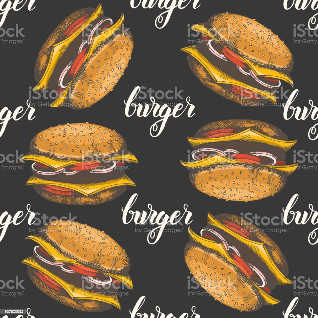 Seamless Pattern With Hand Drawn Burgers Vector Fast Food Background Design For Menu