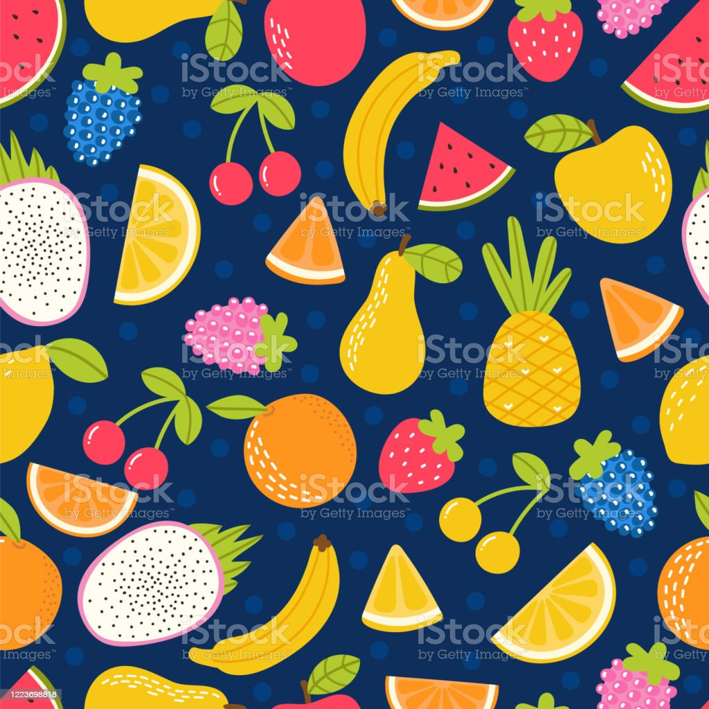 Seamless Pattern With Hand Drawn Cartoon Fruit Summer Tropical Healthy Food Cute Childish Background Stock Illustration Download Image Now Istock