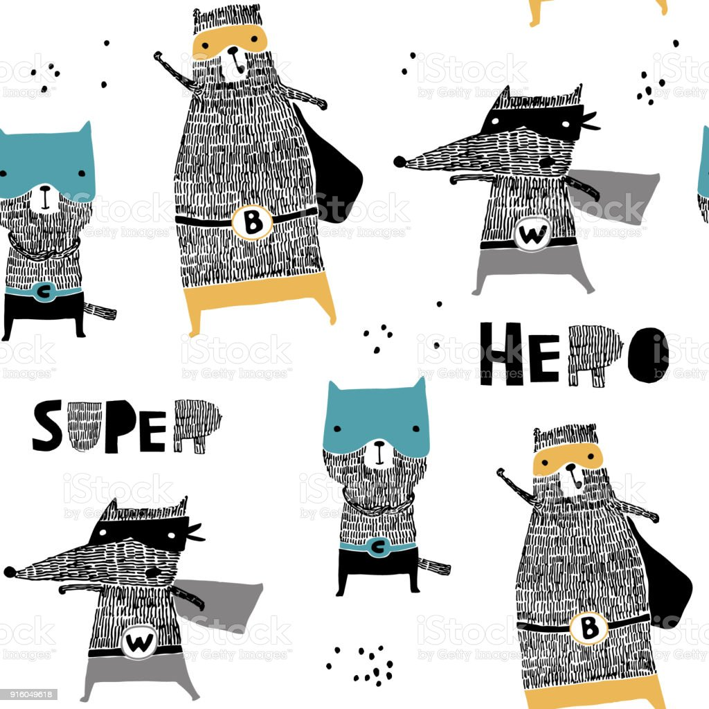 Patrón sin fisuras con gato dibujado mano, oso, lobo héroe. Textura creativa infantil estilo escandinavo. Ideal para tela, textil, Ilustración de vectores - ilustración de arte vectorial