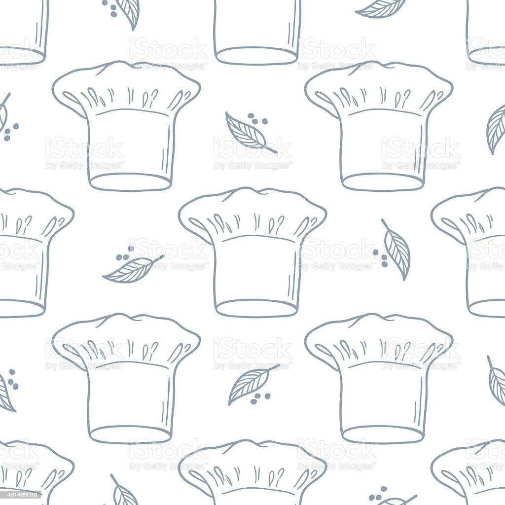Ilustración de Patrón Sin Costuras Con Sombrero Dibujados A Mano Del ...