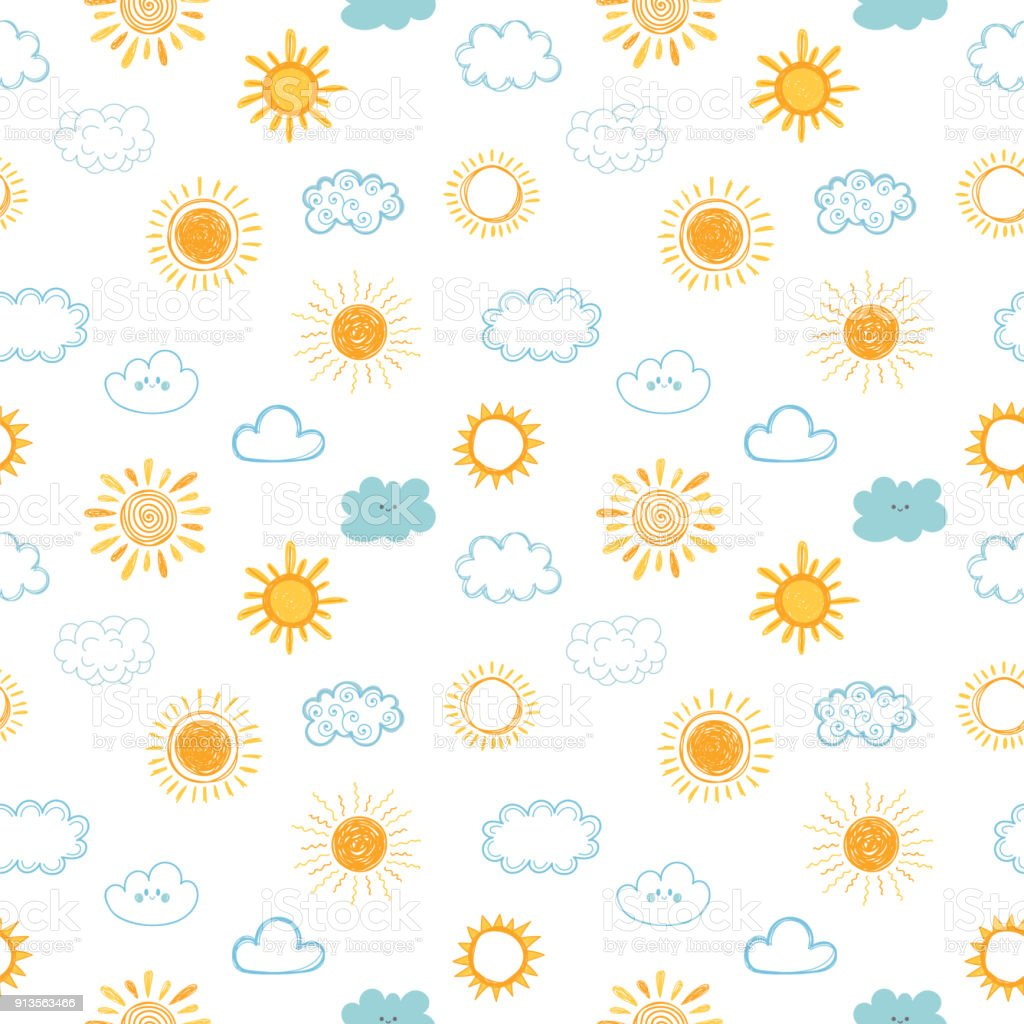 Seamless Pattern With Hand Drawn Clouds And Sun Doodle ...