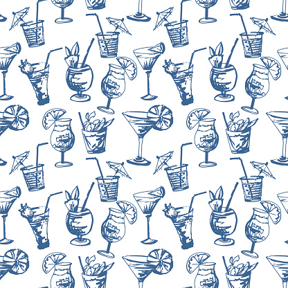 Seamless pattern with hand drawn cocktails glasses.