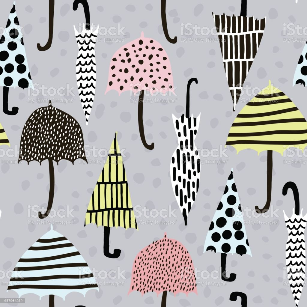 Seamless pattern with hand drawn colorful umbrellas. Childish texture. Great for fabric, textile Vector Illustration royalty-free seamless pattern with hand drawn colorful umbrellas childish texture great for fabric textile vector illustration stock vector art & more images of abstract