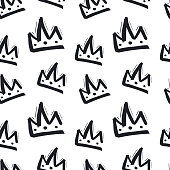Seamless pattern with hand drawn crown on white background