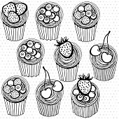 Seamless pattern with hand drawn cupcakes.