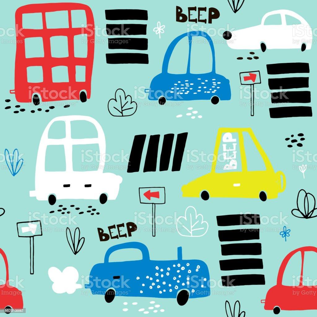 Seamless Pattern With Hand Drawn Cute Car Cartoon Cars Road