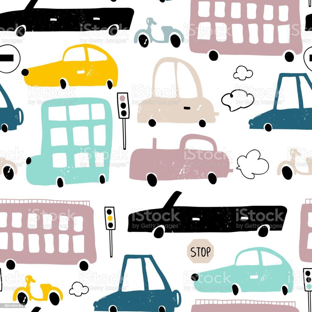 手描きかわいい車でシームレスなパターン漫画の車道路標識横断歩道の