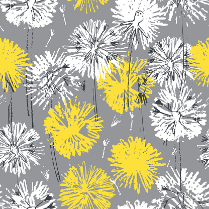Seamless pattern with hand drawn dandelion flowers, trendy yellow and gray colors