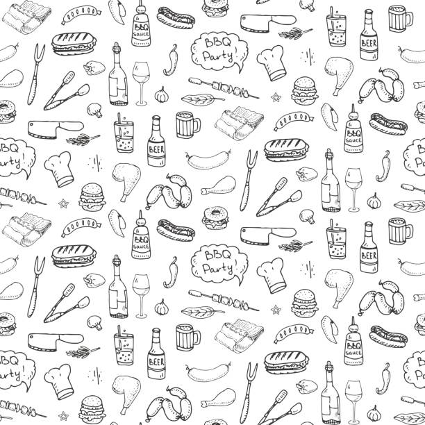 Seamless pattern with hand drawn doodle BBQ icons set. Vector illustration summer barbecue symbols collection Cartoon meals, drinks, ingredients and decoration elements on white background Sketch vector art illustration