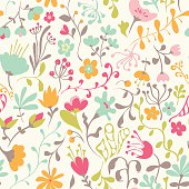 Seamless pattern with hand drawn doodle flowers. Hand drawn design for fabric, wrapping paper, greeting cards or invitation. Vector illustration.