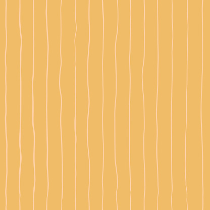 Seamless pattern with Hand drawn doodle stripes on a gold background. Yellow texture with thin lines for wrapping paper, covers and fabric. Hippie vintage pattern in 70s style.