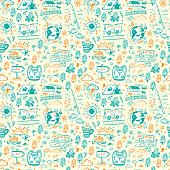Seamless Pattern with Hand Drawn Doodle Travel, Tourism and Camping Icons. Vector Background