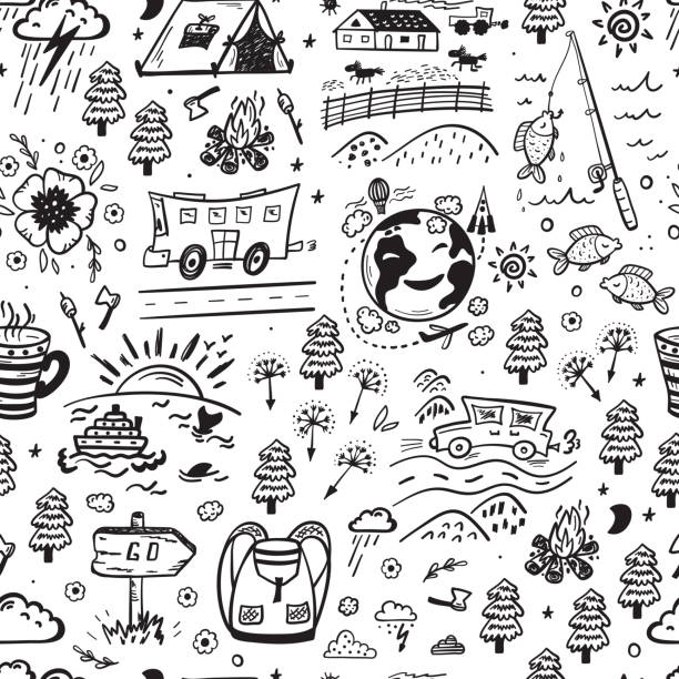Seamless Pattern with Hand Drawn Doodle Travel, Tourism and Camping Icons. Vector Background Seamless Pattern with Hand Drawn Doodle Travel, Tourism and Camping Icons. Vector Background adventure drawings stock illustrations