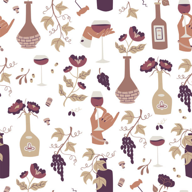 Seamless Pattern with Hand Drawn Doodle Wine Illustrations. Wine Seamless Pattern with Bottles, Glass Wine and Grapes. drawing of a glass liquor flask stock illustrations