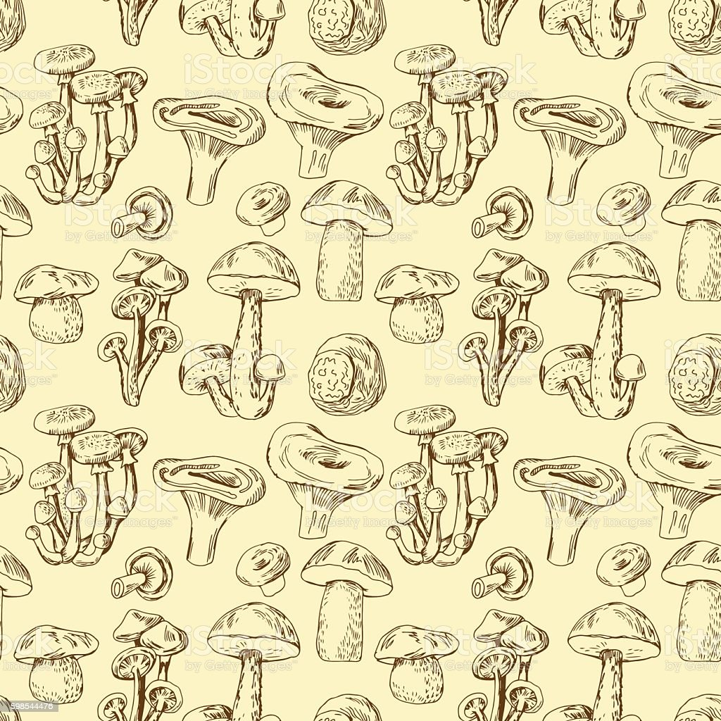 Seamless pattern with hand drawn edible mushrooms seamless pattern with hand drawn edible mushrooms – cliparts vectoriels et plus d'images de agriculture libre de droits