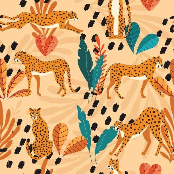 Seamless pattern with hand drawn exotic big cat cheetahs, with tropical plants and abstract elements on light orange background. Colorful flat vector illustration vector art illustration