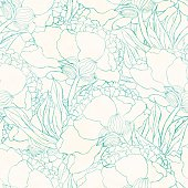 Seamless pattern with hand drawn flowers. Hand drawn design for fabric, wrapping paper, greeting cards or invitation. Vector illustration.