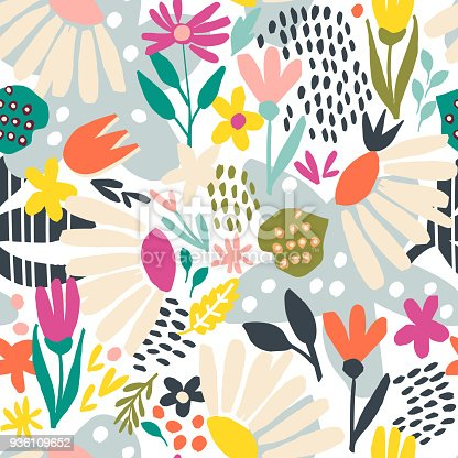 Seamless pattern with abstract hand painted flowers and leaves in a white background. Vector background.