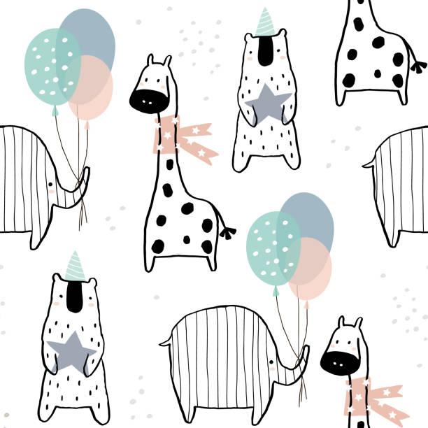 Patrón sin fisuras con jirafa dibujada mano, elefante, oso y partido elementos. Textura creativa infantil estilo escandinavo. Ideal para tela, textil, Ilustración de vectores - ilustración de arte vectorial