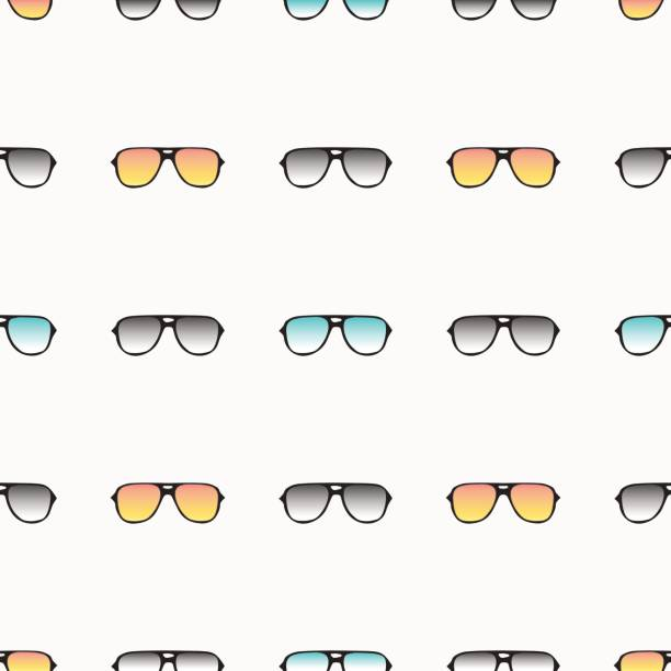 Seamless pattern with hand drawn glasses vector art illustration