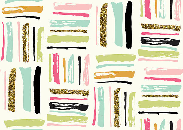 seamless pattern with hand drawn gold glitter textured brush strokes - bohemian fashion stock illustrations, clip art, cartoons, & icons