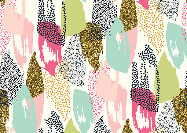 seamless pattern with hand drawn gold glitter textured brush strokes - 보헤미아 stock illustrations