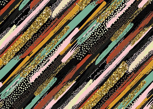 seamless pattern with hand drawn gold glitter textured brush strokes - stoffmalerei stock-grafiken, -clipart, -cartoons und -symbole