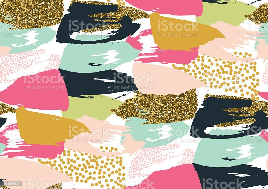 Seamless pattern with hand drawn gold glitter textured brush strokes vector art illustration