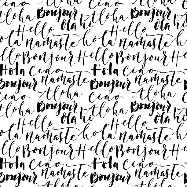9792cf50d6bdc1 Seamless pattern with hand drawn greetings words. vector art illustration