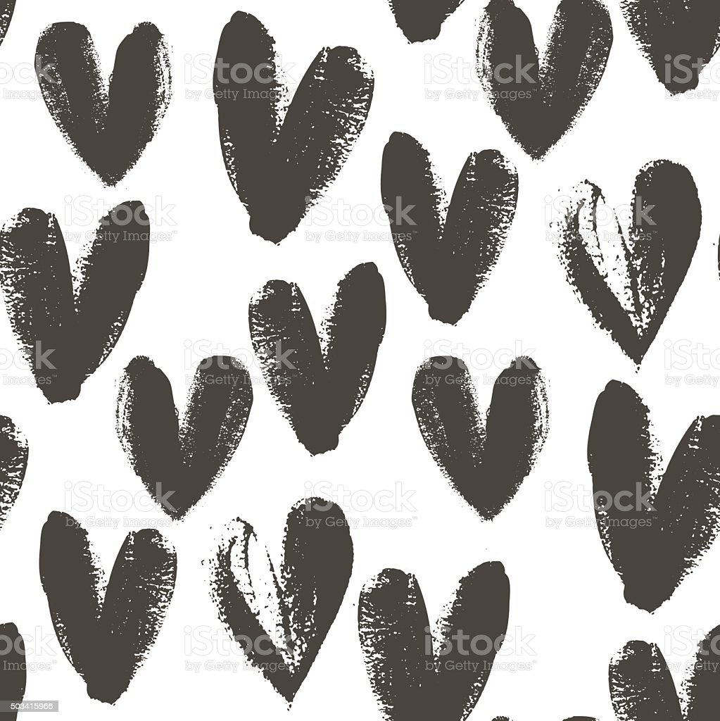 Seamless pattern with hand drawn heart. vector art illustration