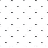 Seamless pattern with hand drawn hearts. Vector illustration in scandinavian style.