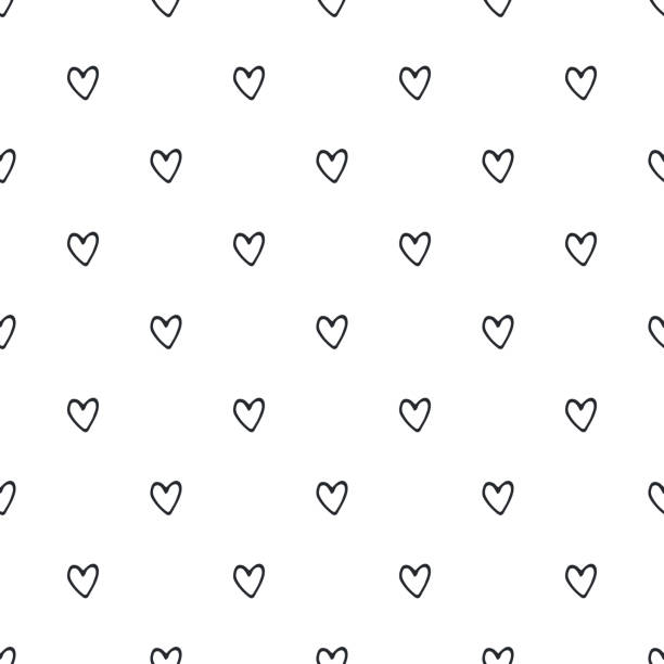 Seamless pattern with hand drawn hearts. Vector illustration in scandinavian style Seamless pattern with hand drawn hearts. Vector illustration in scandinavian style. animal valentine stock illustrations