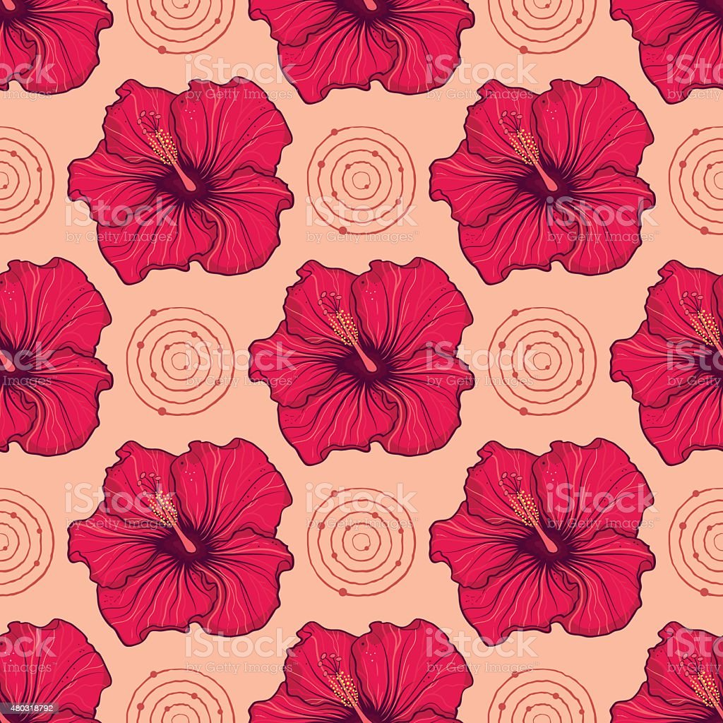 Seamless pattern with hand drawn hibiscus flowers stock vector art seamless pattern with hand drawn hibiscus flowers royalty free seamless pattern with hand drawn hibiscus izmirmasajfo