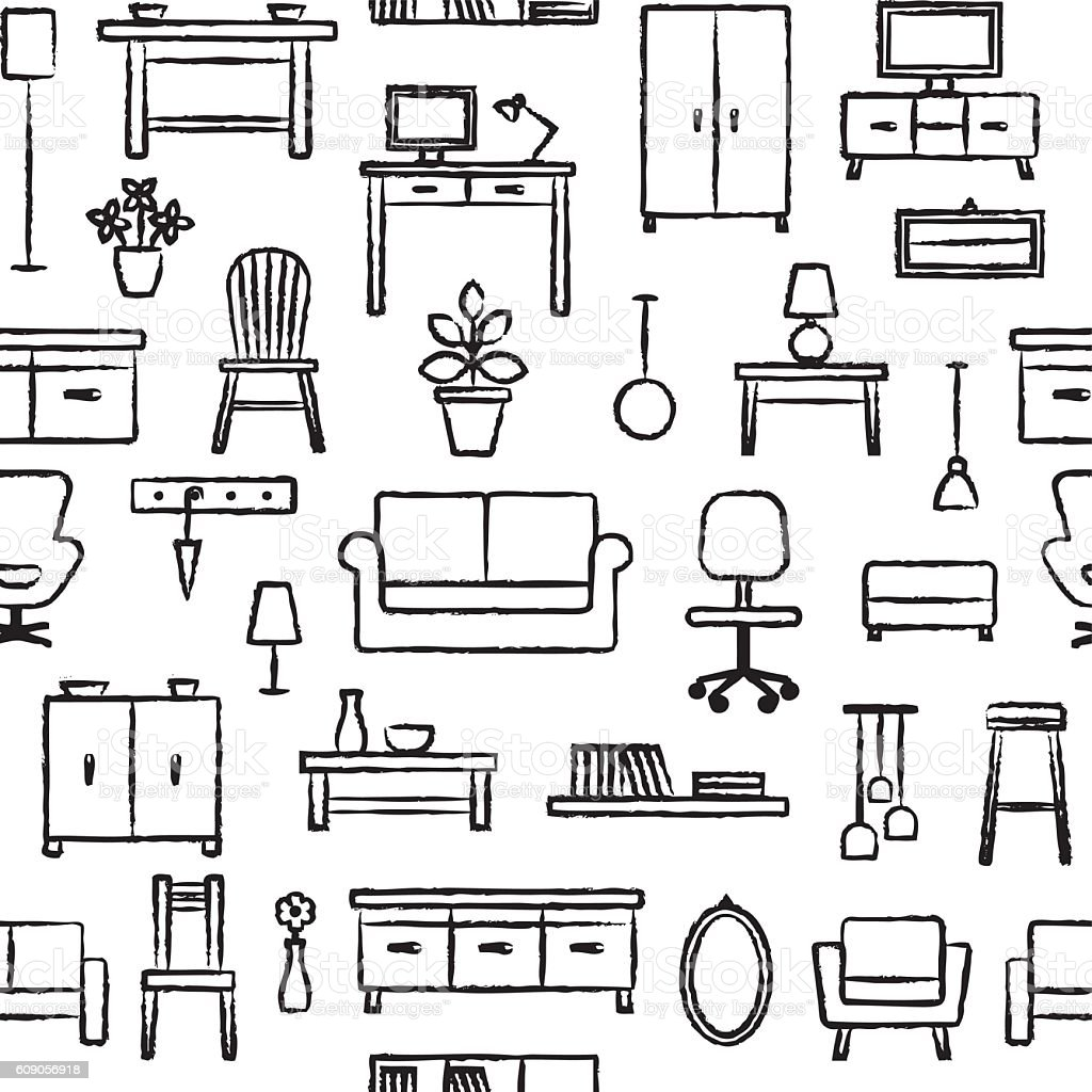 Seamless Pattern With Hand Drawn Home Furniture Outline