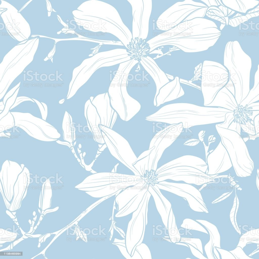 Seamless Pattern With Hand Drawn Magnolia Flower Vector
