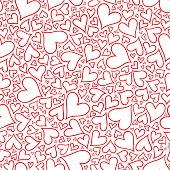 Seamless pattern with hand drawn monochrome hearts. Pattern for coloring book. Coloring page for adult anti stress. Made by trace from sketch. Valentine's day background.