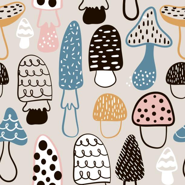 bildbanksillustrationer, clip art samt tecknat material och ikoner med seamless mönster med handritad svamp. barnslig konsistens i minimalistisk stil. bra för tyg, textil vektorillustration - höst plocka svamp