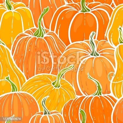 istock Seamless pattern with hand drawn pumpkin in cartoon style. Cute autumn pattern Seamless textile. design for greeting card and invitation of seasonal fall holidays, halloween, thsanksgiving, harvest 1277502574