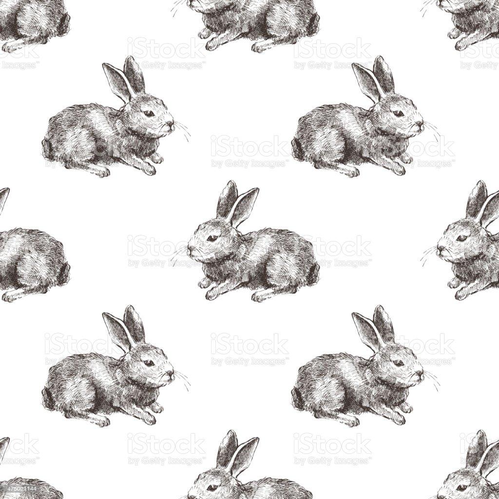 Ilustración de Patrón Sin Costuras Con Conejo Dibujados A Mano y más ...